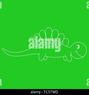 Contour of dinosaurus stegosaurus. Isolated on green background. Vector illustration. - Stock Photo