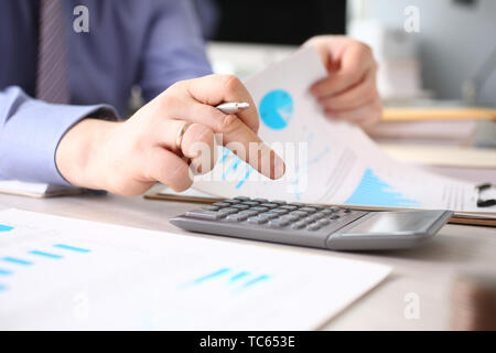Calculating Finance Budget Tax Report Process - Stock Photo