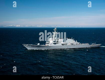 A U.S. Navy Arleigh Burke-class guided-missile destroyer USS Russell during exercise Northern Edge 2019 May 21, 2019 in the Gulf of Alaska. - Stock Photo