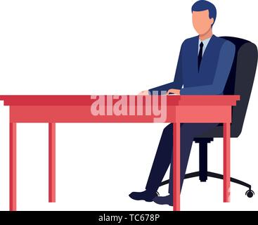 business man avatar on a desk - Stock Photo