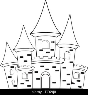 big medieval castle icon cartoon black and white - Stock Photo