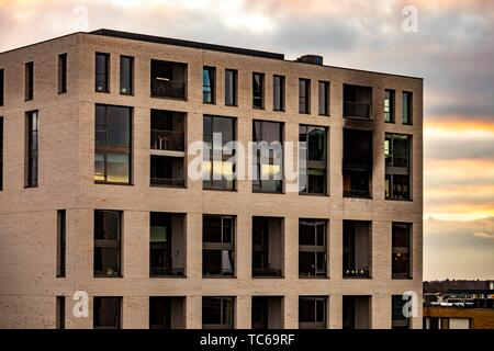 Brand new apartment burned out by fireworks at Strijp-S, Eindhoven, The Netherlands, Europe. - Stock Photo