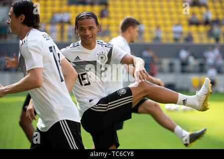 05 June 2019, North Rhine-Westphalia, Aachen: Germany's Leroy Sane attends a training session of the German national soccer team ahead of their UEFA Euro 2020 qualification match against Belarus. Photo: Federico Gambarini/dpa - Stock Photo