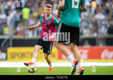 05 June 2019, North Rhine-Westphalia, Aachen: Germany's Marco Reus attends a training session of the German national soccer team ahead of their UEFA Euro 2020 qualification match against Belarus. Photo: Federico Gambarini/dpa - Stock Photo
