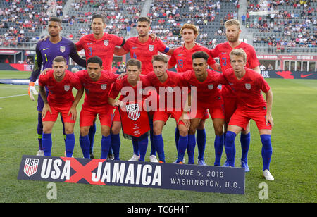 Washington DC, USA. 5th June, 2019. United States Men's National Team starting eleven before an international friendly soccer match between the United States Men's National Team and the Jamaican Men's National Team at Audi Field in Washington DC. Justin Cooper/CSM/Alamy Live News - Stock Photo