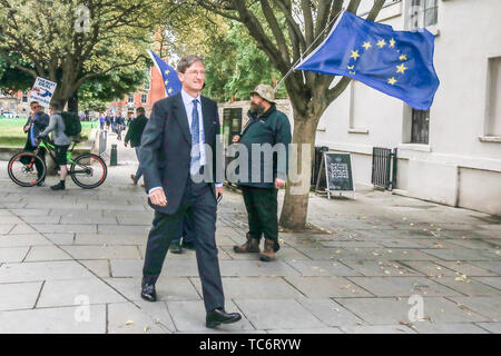 London UK. 6th June 2019. Former Attorney General and Pro Remain MP, Dominic Grieve seen in Westminster. Dominic Grieve has been criticised by his local constituents   for his efforts in the House of Commons to frustrate attempts to take the UK out of the European Union and faces deselection after Beaconsfield Conservatives passed a vote of no confidence Credit: amer ghazzal/Alamy Live News - Stock Photo