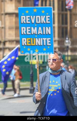 London UK. 6th June 2019. Pro remain Protesters from SODEM Stand of Defiance European Movement continue to protest outside the Houses of Parliament and campaign to Stop Brexit and revoke Article 50. The Conservative Party is facing leadership contest following the resignation of Prime Minister Theresa May Credit: amer ghazzal/Alamy Live News - Stock Photo