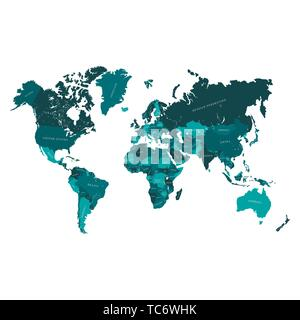 Vector map of the world, with countries borders and names Ready for laser engraving or cutting. - Stock Photo