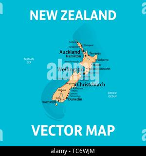 NZ map. Vector map of New Zealand with cities, rivers and roads on separate layers. - Stock Photo