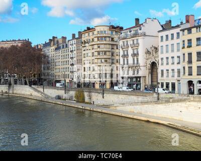 Quai Saint-Vincent, Lyon, France. - Stock Photo