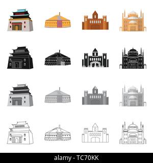 Vector design of town  and chinatown icon. Collection of town  and asian  stock vector illustration. - Stock Photo