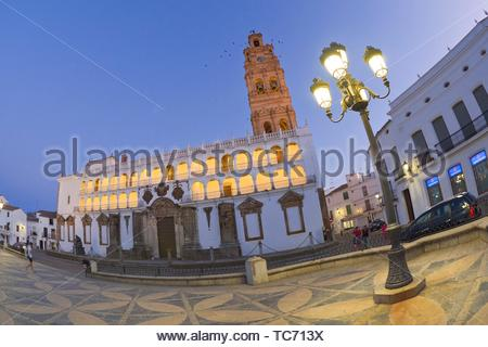 Church of Nuestra Señora de la Granada, Plaza Mayor, Historical Center, Historic Artistic Ensemble, Llerena, Badajoz, Extremadura, Spain, Europe. - Stock Photo
