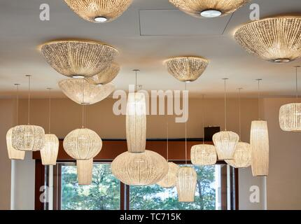 Interior lighting, Lasala Hotel, Donostia, San Sebastian, Gipuzkoa, Basque Country, Spain - Stock Photo