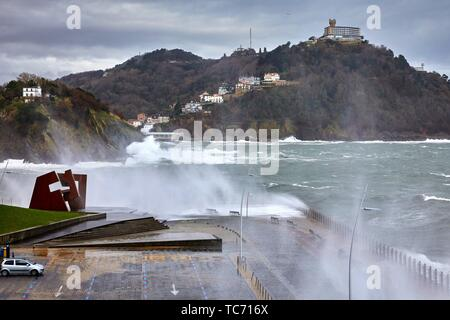 'Construcción Vacia' by Jorge Oteiza, Tempest in the Cantabrian Sea, Waves and Wind, Explosive Cyclogenesis, Paseo Nuevo, Donostia, San Sebastian, - Stock Photo