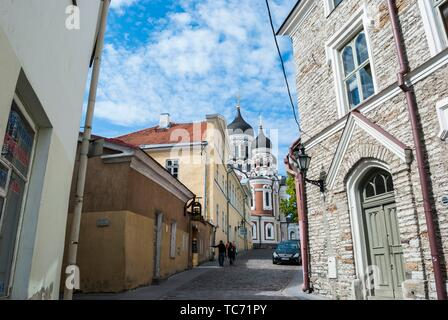 Street in Old Town with Alexander Nevsky Cathedral in the background. Toompea Hill, Tallinn, Estonia, Baltic States. - Stock Photo