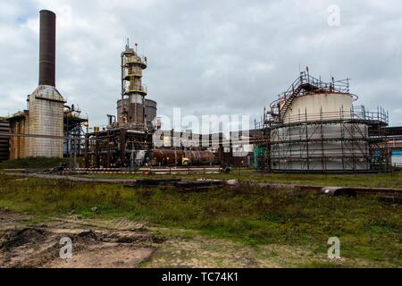 North-West Europe. Huge, heavy industry terrain, producing various kinds of steel inside an old, CO2 emmitting environment. - Stock Photo