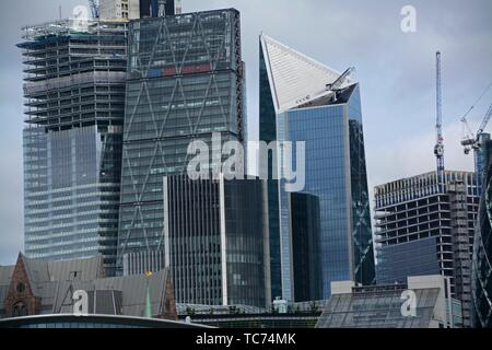 The 22 Bishopsgate Building under construction, The Leadenhall building, the Scalpel and the 100 Bishopsgate Building under construction. The - Stock Photo