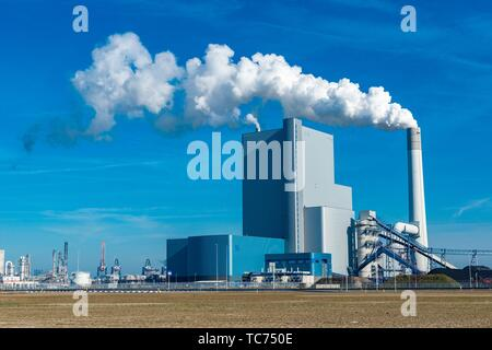 Rotterdam, Netherlands. Newly build and modern Fossil Fuel (Coal) electricity producing power plant on Port of Rotterdam´s 2nd Maasvlakte still emits - Stock Photo