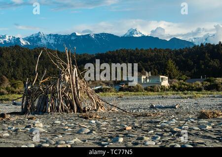 Beach at Okarito, South Island, New Zealand. - Stock Photo