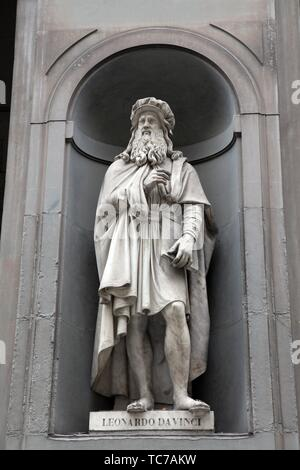 Statue of Leonardo Da Vinci in Florence, Italy - Stock Photo