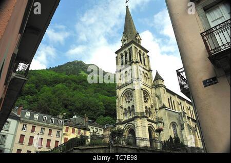The Church of Our Lady, 19th century. Cauterets town, Hautes-Pyrénées department , Occitanie region, France. - Stock Photo