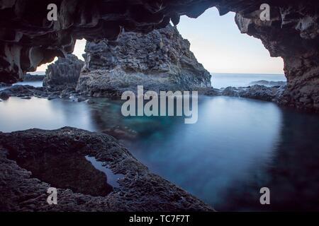 Charco Azul, Blue Pool, El Hierro Canary islands Spain. Stock Photo