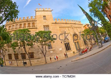 The Llotja de la Seda, Lonja de la Seda de Valencia, Lonja de los Mercaderes, Valencian Gothic Civil Building, UNESCO World Heritage Site, Valencia, - Stock Photo