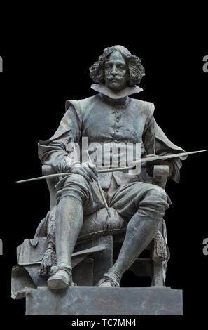 Madrid, Spain - Sept 12th, 2018: Bronze statue of Diego Velazquez painter, by Aniceto Marinas, Madrid, Spain. Isolated. - Stock Photo