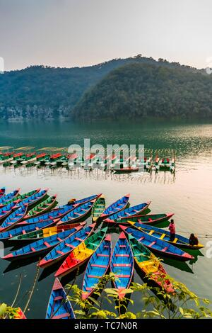 Rowboats, Phewa Lake, Pokhara, Nepal. - Stock Photo