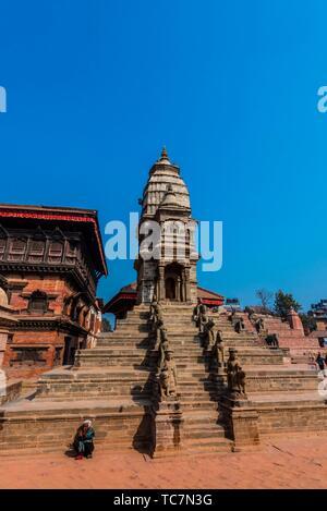 Siddhi Laxmi Shikara Temple, Durbar Square, Bhaktapur, Kathmandu Valley, Nepal. - Stock Photo