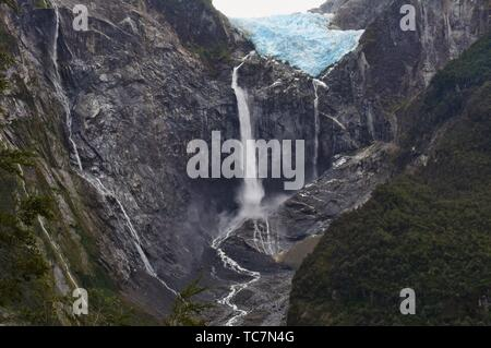 Ventisquero Colgante hanging glacier in Queulat National Park, Patagonia, Aysen, Chile. - Stock Photo