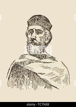 Badajoz, Spain - Jan 7th, 2019: Berenguer Ramon I, count of Barcelona, Girona, and Ausona from 1018 to 1035. Draw from book Enciclopedia - Stock Photo
