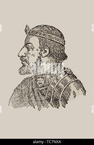 Badajoz, Spain - Jan 7th, 2019: Ramon Berenguer III, count of Barcelona, Girona, and Ausona from 1086 to 1131. Draw from book Enciclopedia - Stock Photo
