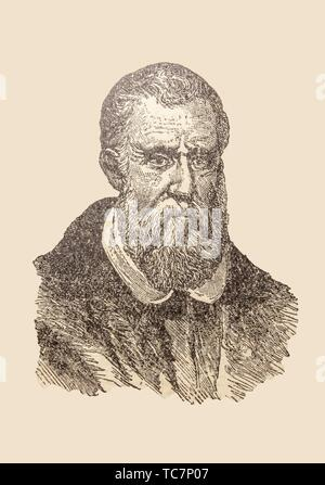 Badajoz, Spain - Jan 7th, 2019: Portrait of Marco Polo, the explorer. Draw from book Enciclopedia Autodidactica published by Dalmau Carles in 1954. - Stock Photo