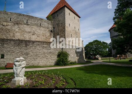 Maiden's Tower (Neitsitorn), archery range, and Peek in the kitchen (Kiek in de Kök) Tower, Tallinn's City Walls, Old Town, Tallinn, Estonia, Baltic - Stock Photo