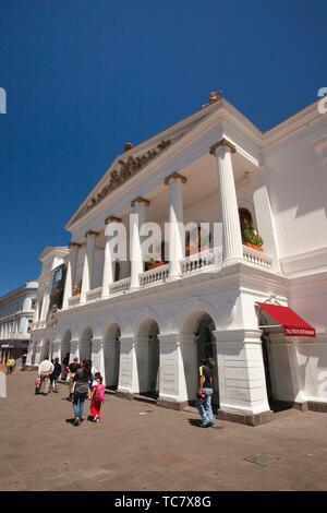 View to the Teatro Nacional de Sucre at the historic center, Quito, Ecuador, South America - Stock Photo