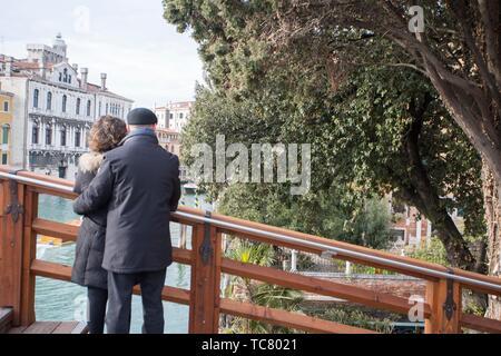 Venice, Veneto, Italy : View of Grand Canal from Accademia bridge.. - Stock Photo