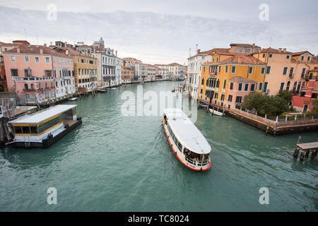 Venice, Veneto, Italy : View of Grand Canal from Accademia bridge..