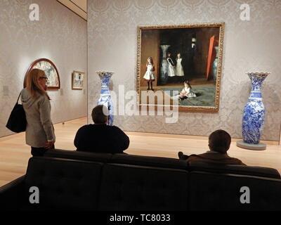 Visitors Admiring John Singer Sargentâ.s, â. œThe Daughters of Edward Darley Boit,â.Museum of Fine Arts, Boston, Massachusetts, USA. - Stock Photo
