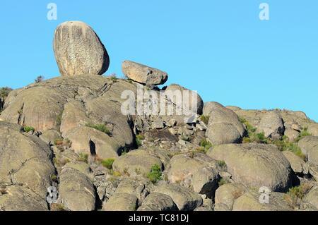 Granitic morphology. Valencia de Alcántara. Cáceres province. Extremadura. Spain - Stock Photo