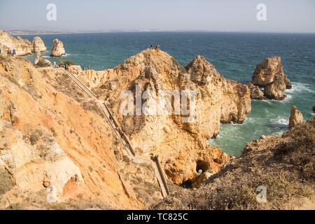 Ponta da Piedade reef in Lagoa Algarve Portugal. - Stock Photo