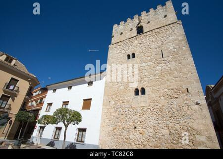 San Clemente town in Cuenca Castile La Mancha Spain. The old tower. - Stock Photo