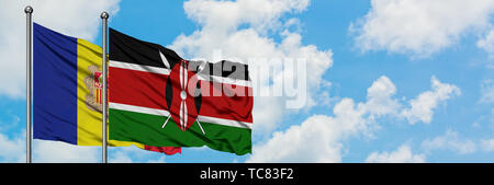 Andorra and Kenya flag waving in the wind against white cloudy blue sky together. Diplomacy concept, international relations. - Stock Photo