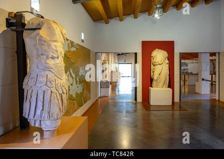 Museo-Centro de Interpretación del parque arqueológico de Segóbriga, Saelices, Cuenca, Castilla-La Mancha, Spain. - Stock Photo