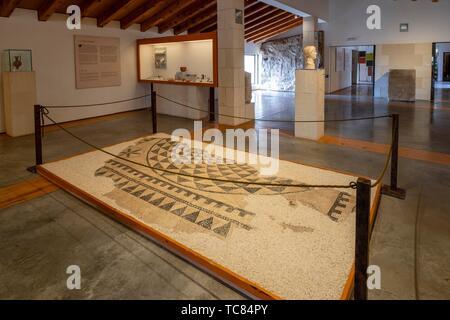 mosaico de la vivienda de Caius Lulius Silvanus, siglo III, Museo-Centro de Interpretación del parque arqueológico de Segóbriga, Saelices, Cuenca, - Stock Photo