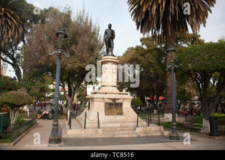 View to the statue at the park in Plaza 25 De Mayo-Plaza Independencia at the historic center, Sucre, Chuquisaca Department, Bolivia, South America - Stock Photo