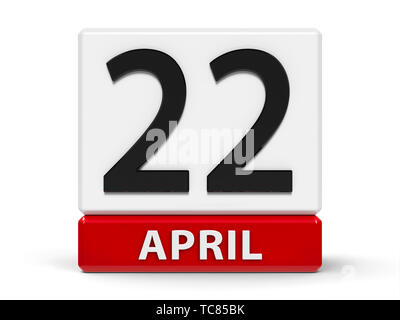 Red and white calendar icon from cubes - The Twenty Second of April - on a white table - International Earth Day, three-dimensional rendering, 3D illu - Stock Photo