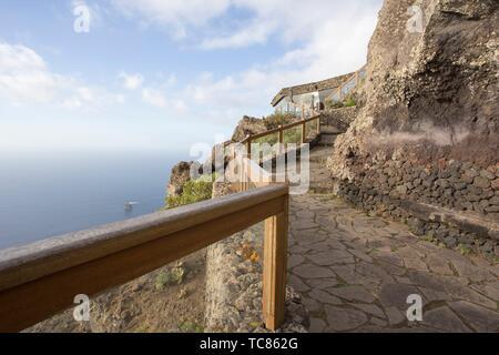 Viewpoint Mirador de la Pena with restaurant, designed by artist and architect Cesar Manrique, in Guarazoca, El Hierro, Canary Islands, Spain on Stock Photo