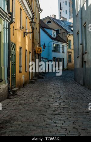 Narrow, cobbled street in Old Town, Tallinn, Estonia, Baltic States. - Stock Photo