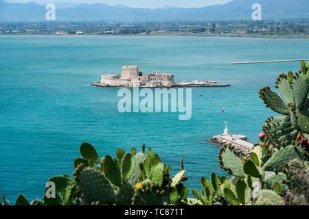 Bourtzi water castle in the harbour of Nafplio - Stock Photo